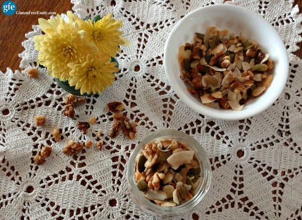This Harvest Trail Mix can be eaten for breakfast, a snack at home, road trip food ... in fact, it's perfect any time you need a protein-rich, tasty treat! [from GlutenFreeEasily.com] (photo)