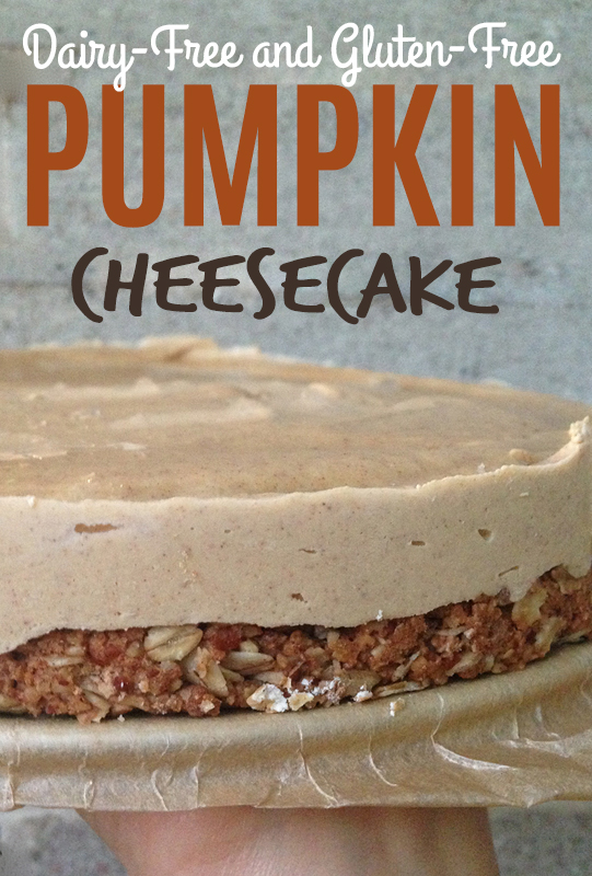 Pumpkin Cheesecake with Oat Crust (Gluten Free, Dairy Free, Egg Free, Vegan) from She Let Them Eat Cake