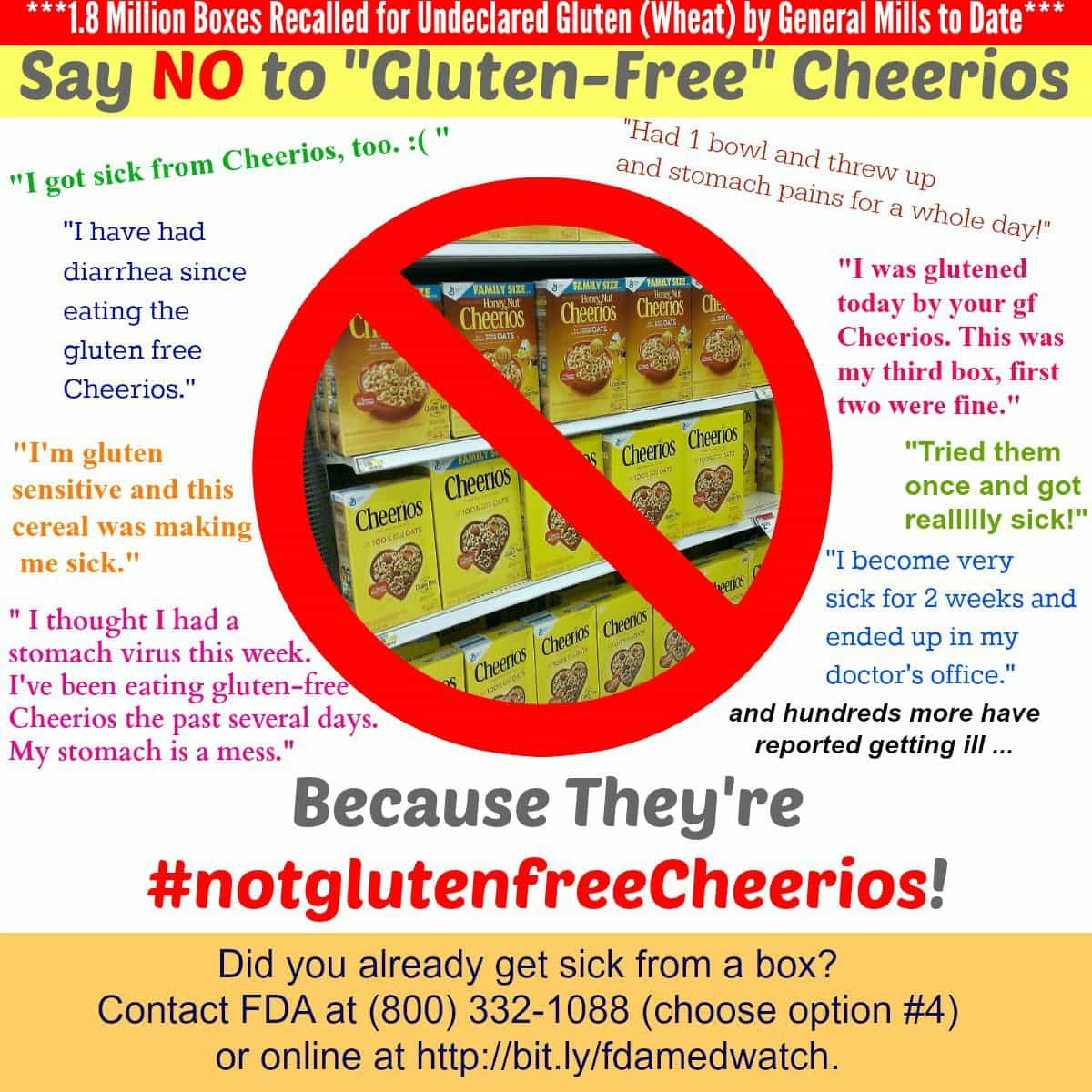 Say No to Gluten-Free Cheerios Poster (They Are Making Hundreds Ill and 1.8M Boxes Have Been Recalled)