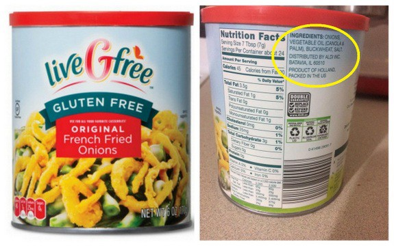 ALDI Live GFree Gluten-Free French Fried Onions Collage with Ingredients Circled on Label
