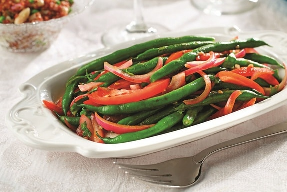 Peruvian Green Beans with Red Onions and Tomatoes (Gluten Free, Vegan)