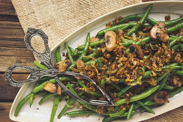 Sauteed Green Beans with Mushrooms and Caramelized Leeks Gluten Free