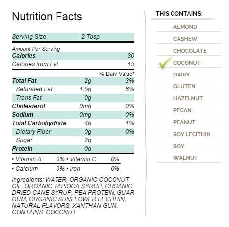 CocoWhip Original Ingredients
