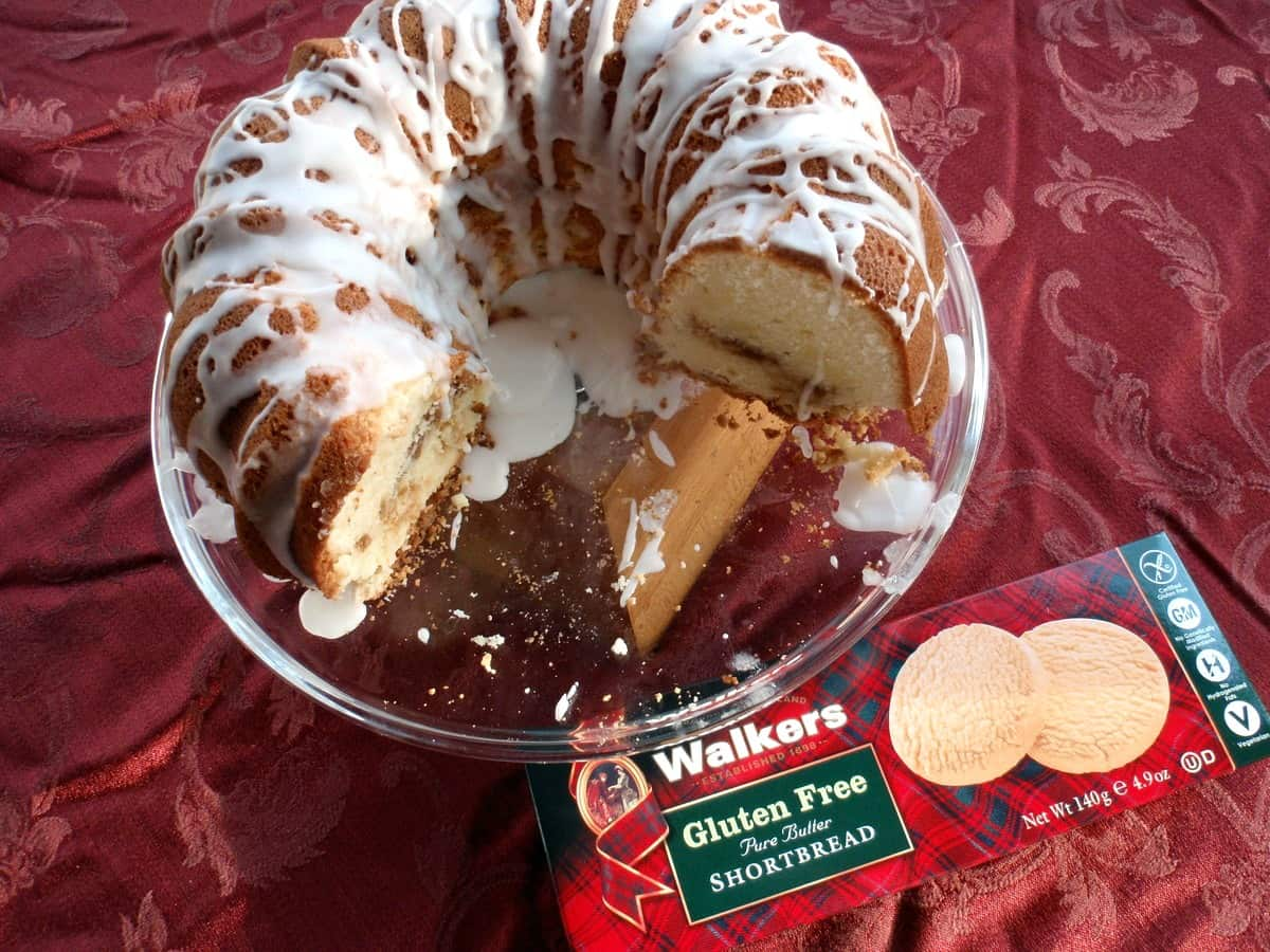 Gluten-Free Cream Cheese Pound Cake with Streusel Filling Made from Walkers Shortbread