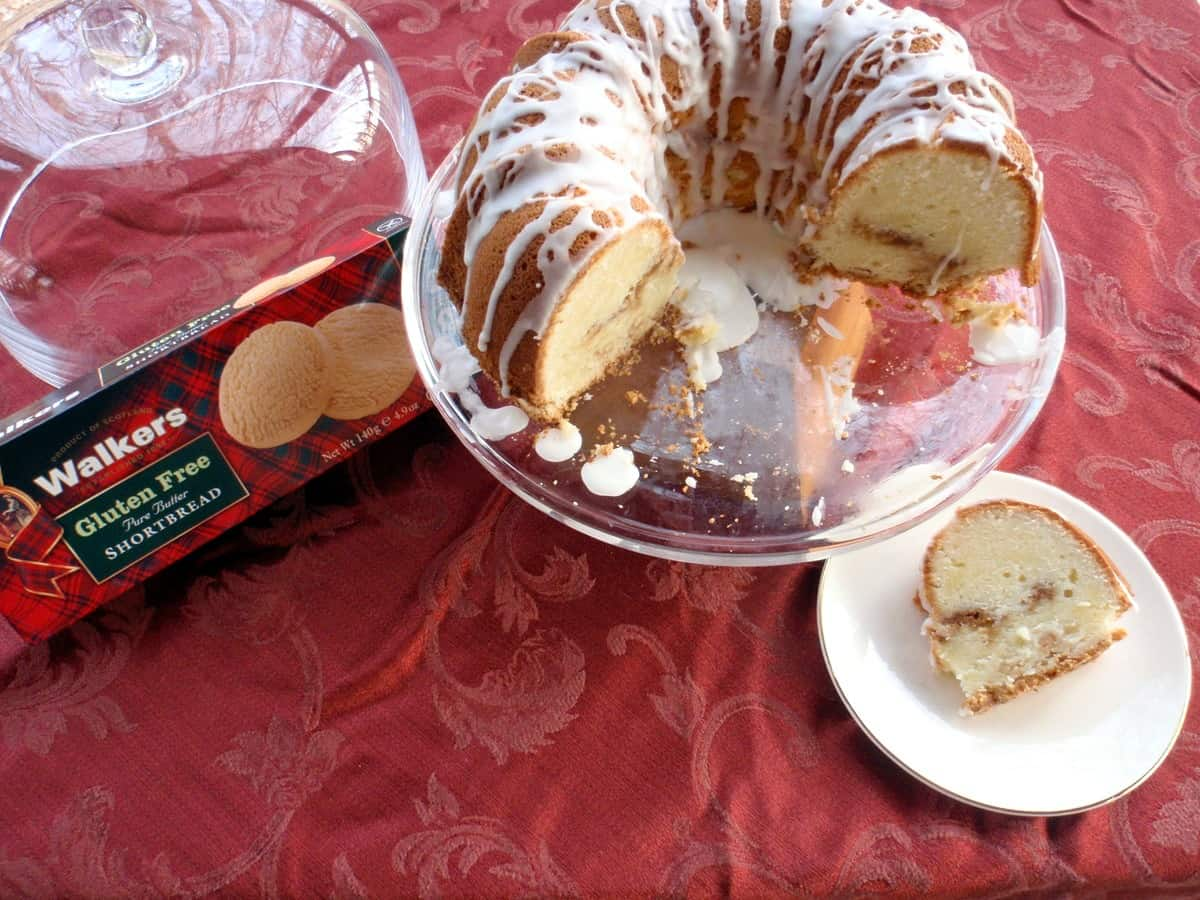 Gluten-Free Cream Cheese Pound Cake with Shortbread Streusel Filling and Sugary Glaze
