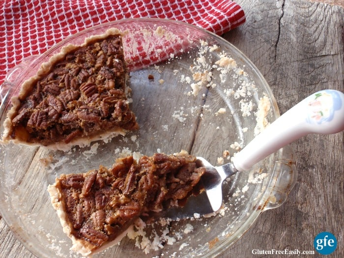 Softer, creamier Luxurious Pecan Pie. Gluten free, with a dairy-free option. From GlutenFreeEasily.com.