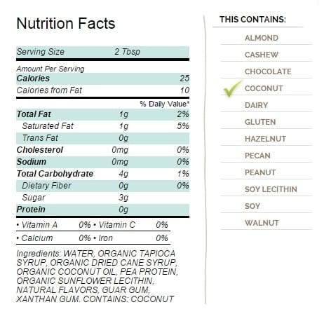 So Delicious CocoWhip Light Ingredients Nutrition Facts