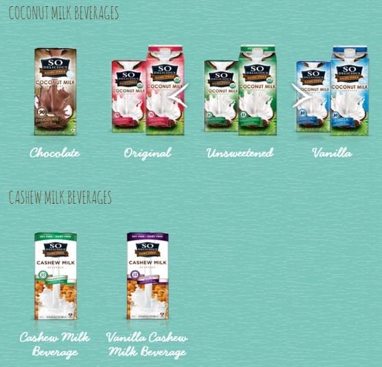 So Delicious Coconut Milk and Cashew Milk Beverages