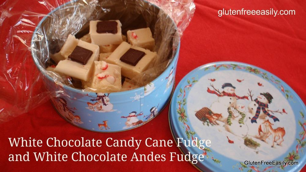 White Chocolate Candy Cane or Andes Mint Fudge from GlutenFreeEasily.com