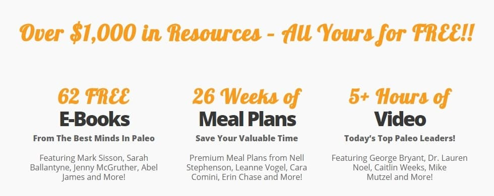 It's hard to believe it, but you can get all of these for free! Over $1000 in Paleo Resources (Cookbooks, Guidebooks, Fitness Plans, Meal Plans, and More)