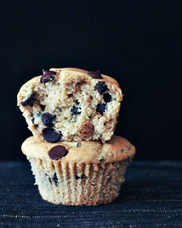 Fluffy Chocolate Chip Zucchini Muffins--Gluten free and vegan! From Spabettie for March Muffin Madness.