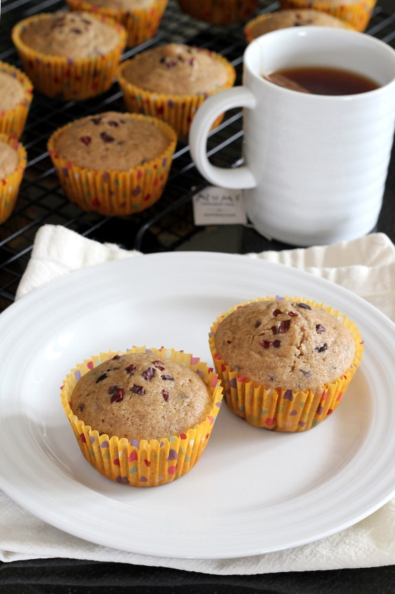 Chocolate and spice ... and everything nice! Gluten-Free Chai Muffins with Cacao Nibs for March Muffin Madness