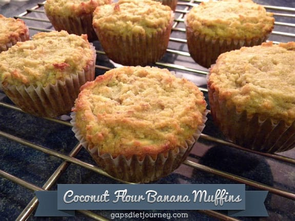 Another delicious way to use your overripe bananas and enjoy muffins!! Gluten-Free Paleo Coconut Flour Banana Muffins for March Muffin Madness