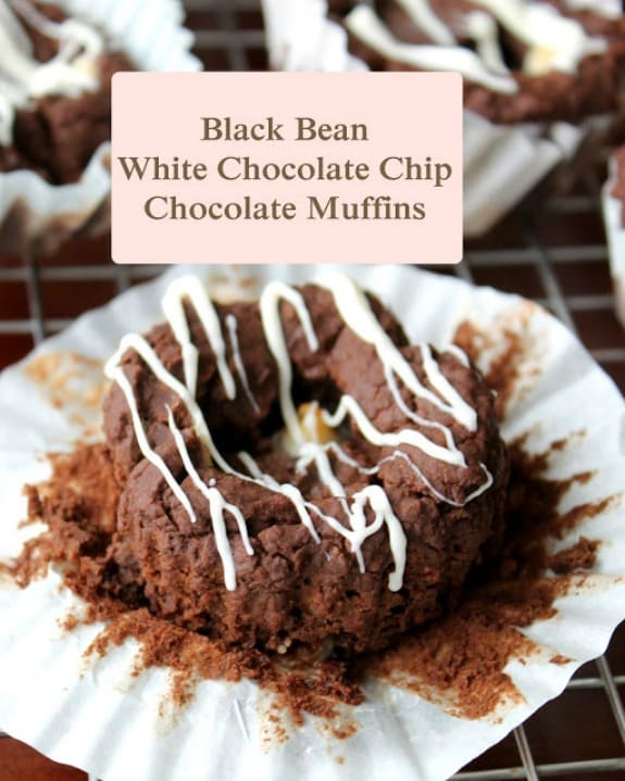 Gluten-Free White Chocolate Chip Chocolate Black Bean Muffins Recipe Text