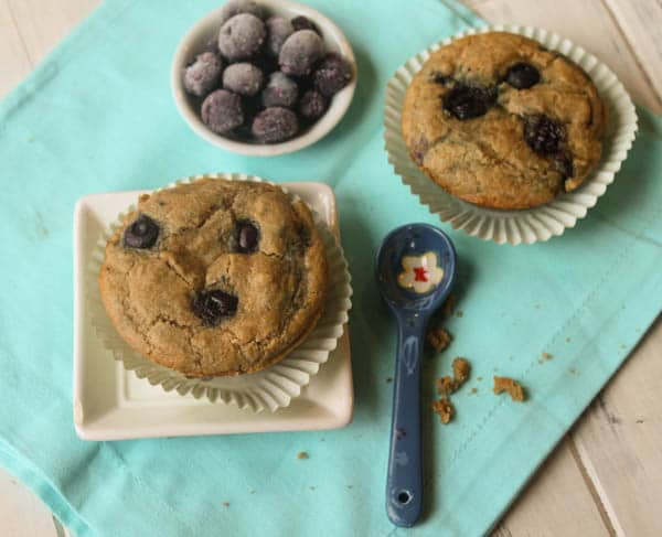 March Muffin Madness delivers again! Another fantastic gluten-free muffin recipe. Paleo Blueberry Muffins from Tessa The Domestic Diva