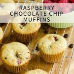 Gluten free and paleo Raspberry Chocolate Chip Muffins! Now fresh raspberries and dark chocolate chips are a terrific combination!