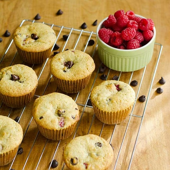 Fresh raspberries and dark chocolate morsels combined in a buttery paleo Raspberry Chocolate Chip Muffin, what's not to love?