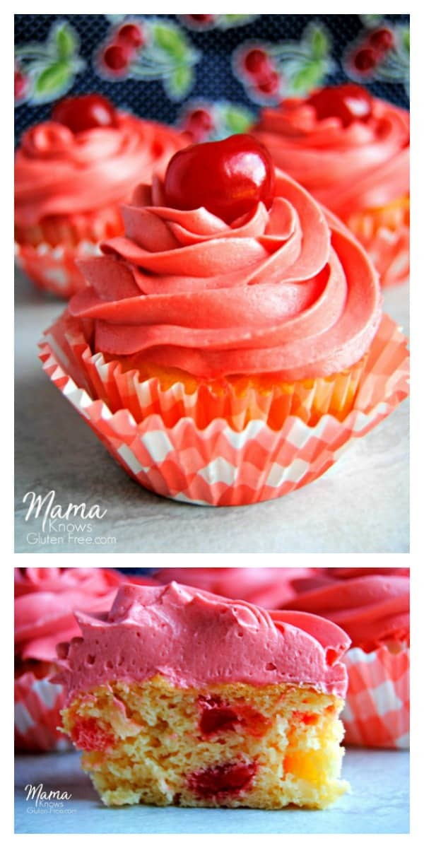 Gluten-Free Pineapple Upside Down Cupcakes with Maraschino Frosting Photo Collage