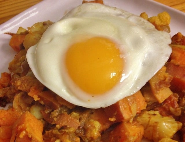 Curried Sweet Potato and Cauliflower Hash from In Johnna's Kitchen. One of many fabulous Gluten-Free Mother's Day Brunch Recipes! This recipe even brings your team good luck!