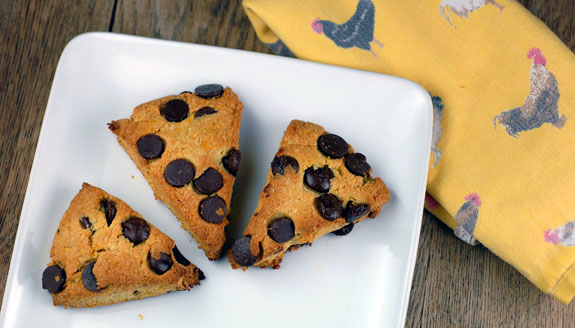 Orange Dark Chocolate Chip Scones from Elana's Pantry. One of many fabulous Gluten-Free Mother's Day Brunch Recipes! Also grain free, and totally delicious. I make them all the time without the orange factor as well.