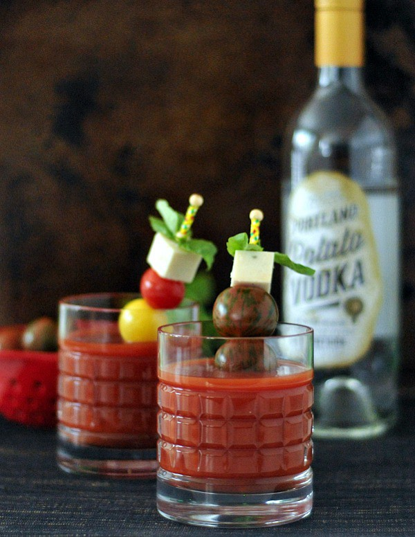 Spicy Caprese Cocktail (aka Bloody Mary with Caprese garnish). From Spabettie. One of many fabulous Gluten-Free Mother's Day Brunch Recipes!