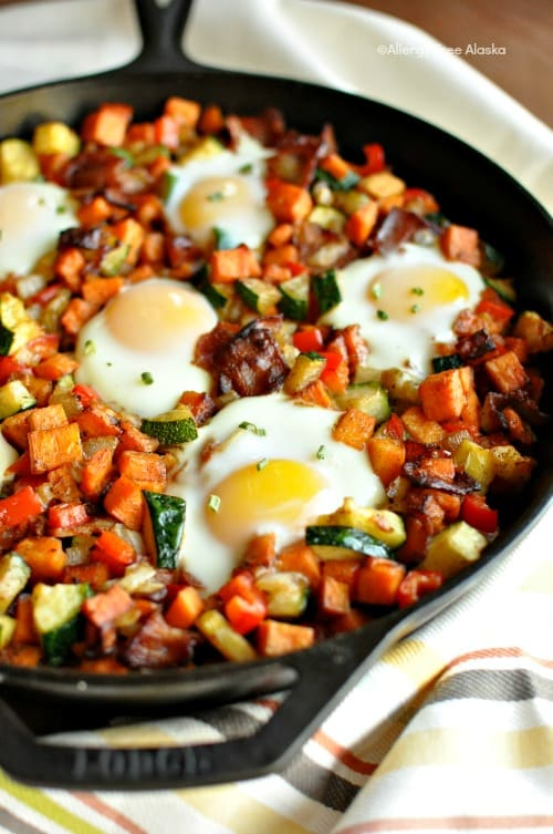 Sweet Potato Breakfast Skillet with Bacon. One of many fabulous Gluten-Free Mother's Day Brunch Recipes! From Allergy Free Alaska.