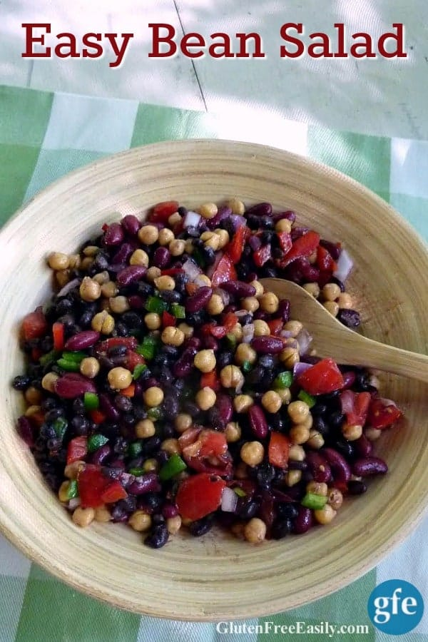 Easy Bean Salad is an old school recipe that will still delight your family and friends! It's packed full of protein, veggies, and is absolutely delicious. Bonus ... it feeds a crowd and will keep for several days if needed. (photo)
