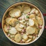 Yes, scalloped potatoes can be a wonderful skillet supper! Scalloped Potatoes with Ham and Peas from Prep Ahead Meals by Alea Milham