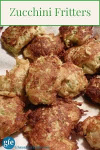 Light and Lovely Zucchini Fritters are a fabulous way to use zucchini! Call them Zucchini Potato Pancakes if Pancakes will be more of an enticement to your family. Or even potato pancakes. [from GlutenFreeEasily.com] (photo)