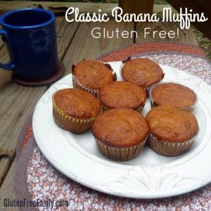 Classic Gluten-Free Banana Muffins. Gluten-free, delicious comfort food. Perfect way to start your day! [from GlutenFreeEasily.com] (photo)