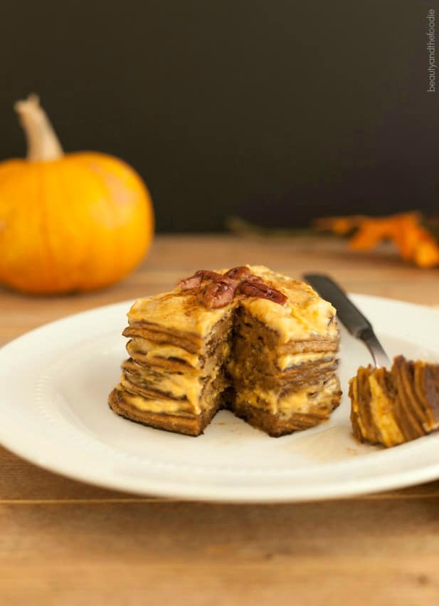 Gluten-Free Low-Carb Pumpkin Cheesecake Pancakes. One of over 30 gluten-free cheesecake recipes featured on gfe. [from GlutenFreeEasily.com]