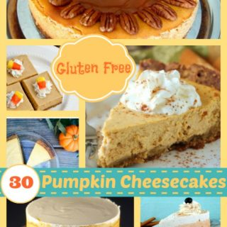 Gluten-Free Pumpkin Cheesecakes! Over 30 of them, including traditional cheesecakes and cheesecake desserts (like bars, cheesecake pops, and more). [featured on GlutenFreeEasily.com] (photo)
