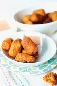 "Sweet Potato Bacon Tater Tots. ""Regular"" tater tots pale in comparison to these delicious treats! [featured on GlutenFreeEasily.com] (photo)"