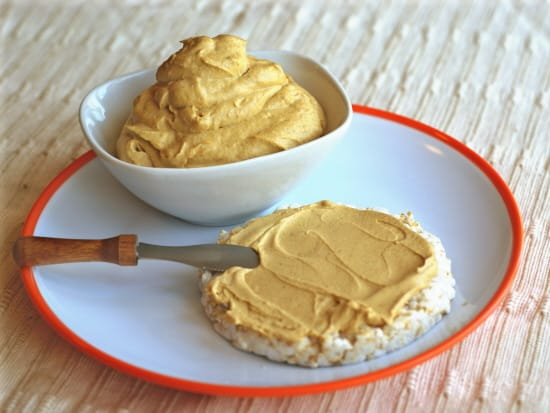 Spiced Pumpkin Cheese Spread. One of over 30 gluten-free pumpkin cheesecake recipes. Vegan. [featured on GlutenFreeEasily.com]