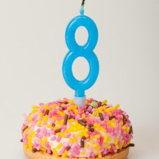 Gluten-Free Donut Birthday Cake GFE Is Eight [from GlutenFreeEasily.com]