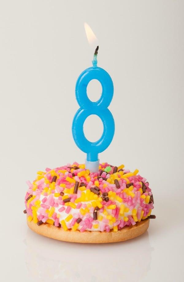 Gluten-Free Donut Birthday Cake GFE Is Eight [from GlutenFreeEasily.com]