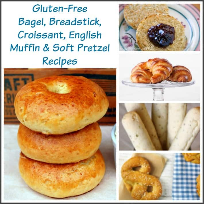 Gluten-free bread recipes on gfe in the Bountiful Bread Basket series. Gluten-Free Bagel, Breadstick, Croissant, English Muffin and Soft Pretzel Recipes. [featured on GlutenFreeEasily.com]