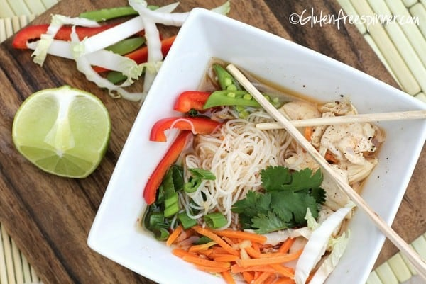 Gluten-Free Chicken Noodle Soup Recipes. Recipe shown is Asian Red Curry Chicken Noodle Soup from Gluten-Free Spinner [featured on GlutenFreeEasily.com]