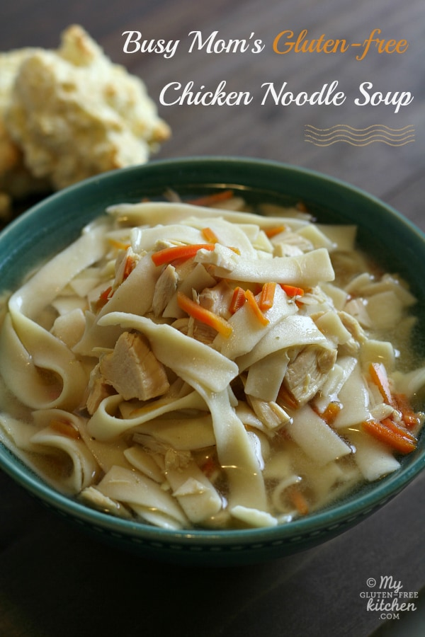 Gluten-Free Chicken Noodle Soup Recipes. Shown is Busy Mom's Slow Cooker Gluten-Free Chicken Noodle Soup from My Gluten-Free Kitchen. [featured on GlutenFreeEasily.com]