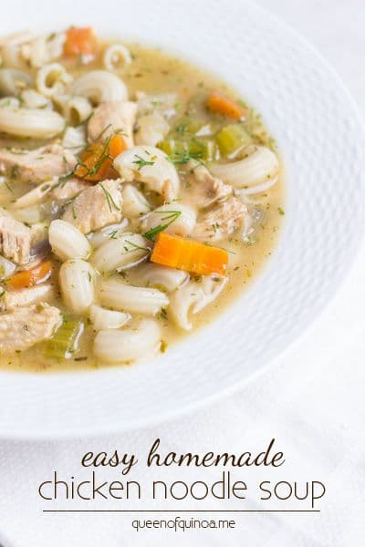 Gluten-Free Chicken Noodle Soup Recipes. Shown is Simply Quinoa's Easy Homemade Chicken Noodle Soup recipe. [featured on GlutenFreeEasily.com]