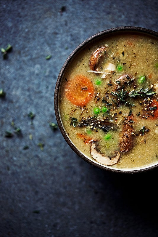 Gluten-Free Chicken Noodle Soup Recipes. Shown is Tasty Yummies' Instant Pot Creamy Chicken Soup recipe. [featured on GlutenFreeEasily.com]