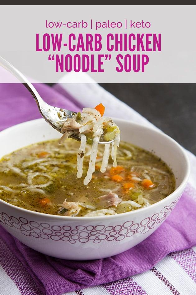 Gluten-Free Chicken Noodle Soup Recipes. Shown is Healthful Pursuit's Low-Carb Keto Paleo Chicken Noodle Soup recipe. [featured on GlutenFreeEasily.com]