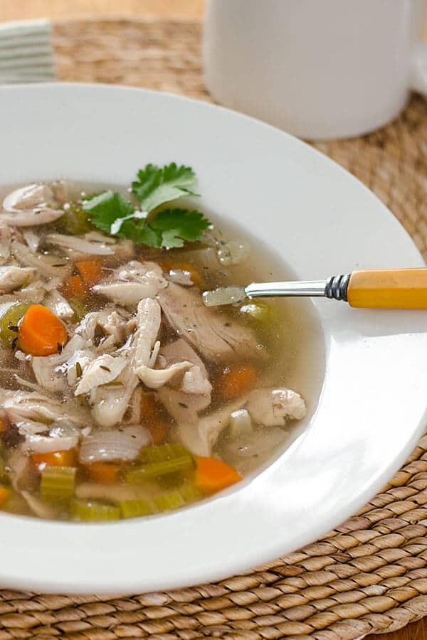 Gluten-Free Chicken Noodle Soup Recipes. Recipe shown is Paleo Crockpot Chicken Soup from Cook Eat Paleo. [featured on GlutenFreeEasily.com]