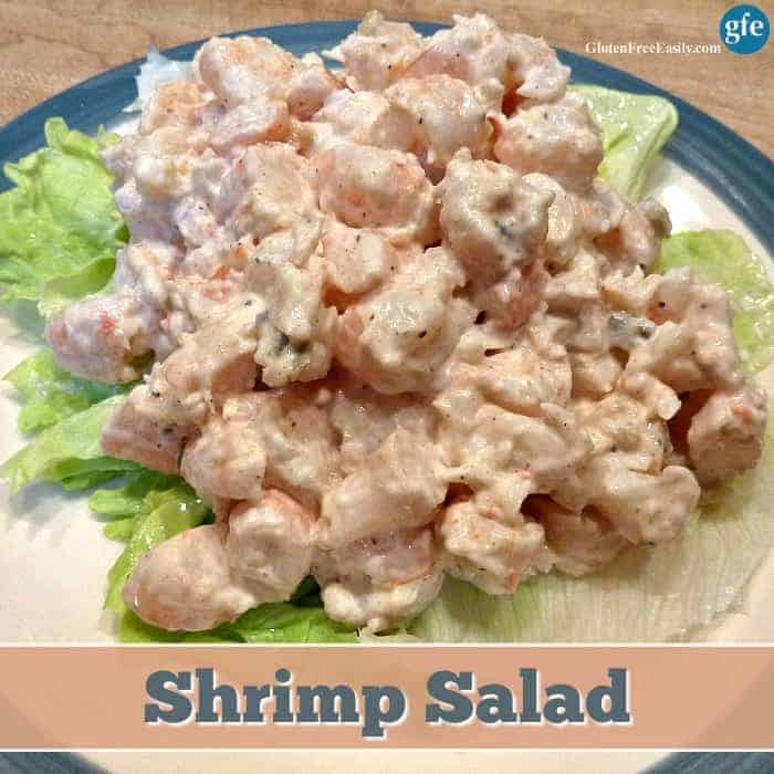 Gluten-Free Shrimp Salad. Sunset Shrimp Salad. Naturally gluten free as long as you take the usual gluten-free precautions when it comes to condiments and cross contact. [from GlutenFreeEasily.com]