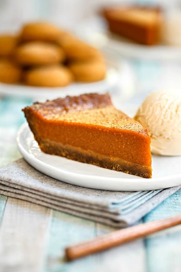 Gluten-free and vegan pumpkin pie. One of over 50 gluten-free pumpkin pie recipes. [from GlutenFreeEasily.com]