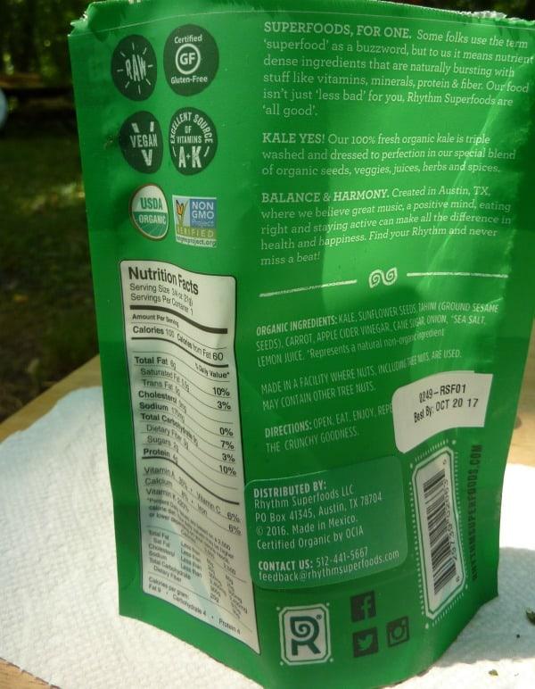 Naturally gluten-free Rhythm Kale Chips ingredients label. Certified gluten free. [featured on GlutenFreeEasily.com]
