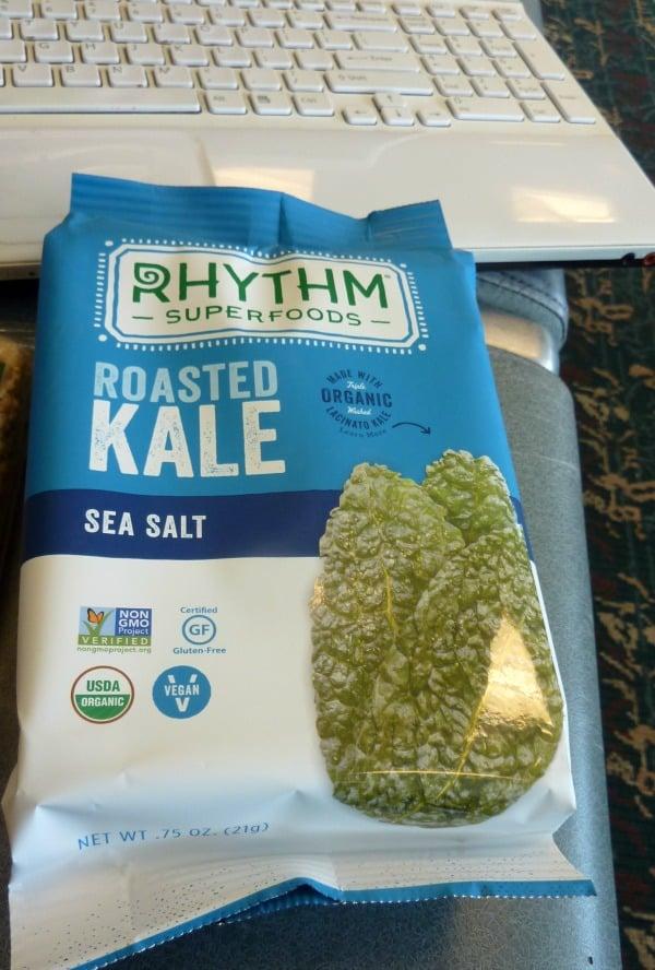 GFE recommends naturally gluten-free Rhythm Roasted Kale. Sea salt flavor. [featured on GlutenFreeEasily.com]