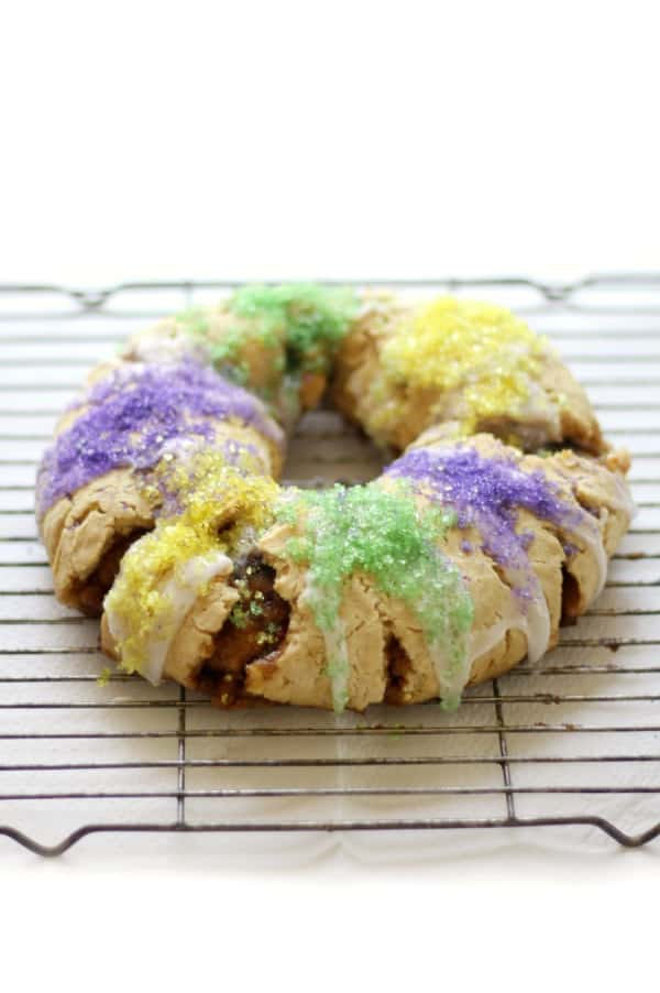 New Orleans Gluten-Free King Cake (Allergy Free, Vegan) on a cooling rack.