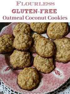 Flourless Gluten-Free Oatmeal Coconut Cookies on red and white plate placed on white linen doily.