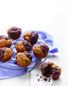 Gluten-Free Chocolate Banana Split Muffins. When chocolate muffins and banana muffins merge into one very special breakfast treat! One of 20 gluten-free muffin recipes featured on gfe for March Muffin Madness.